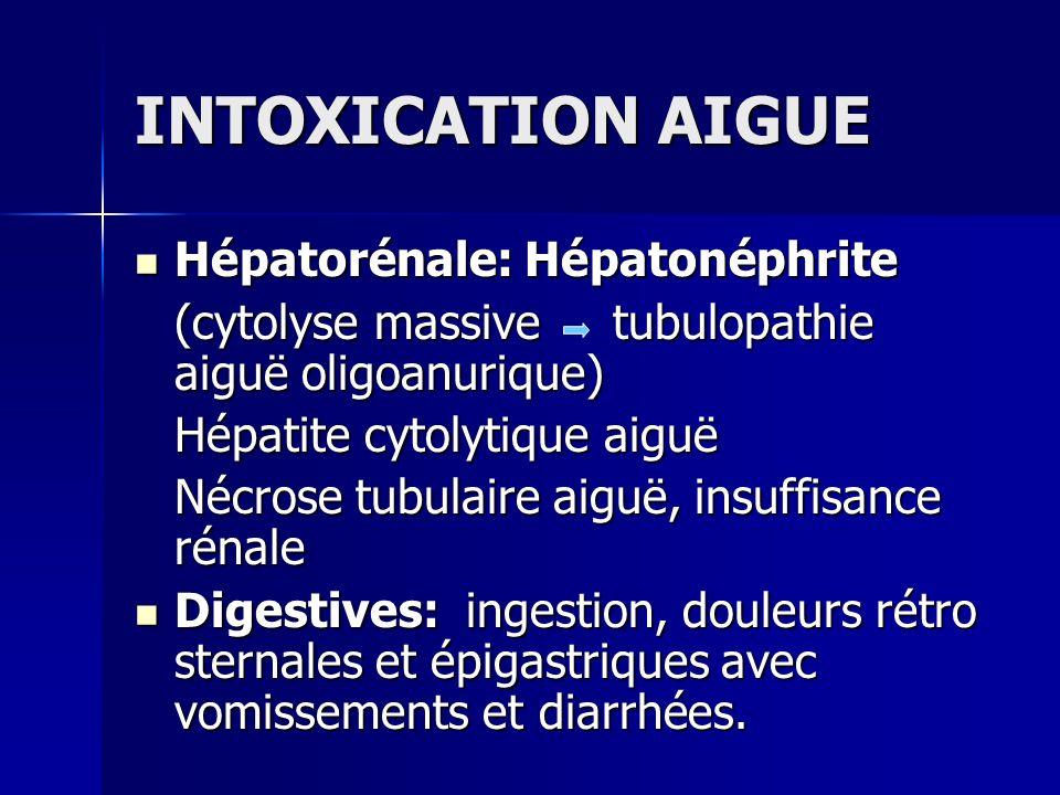 INTOXICATION AIGUE Hépatorénale: Hépatonéphrite