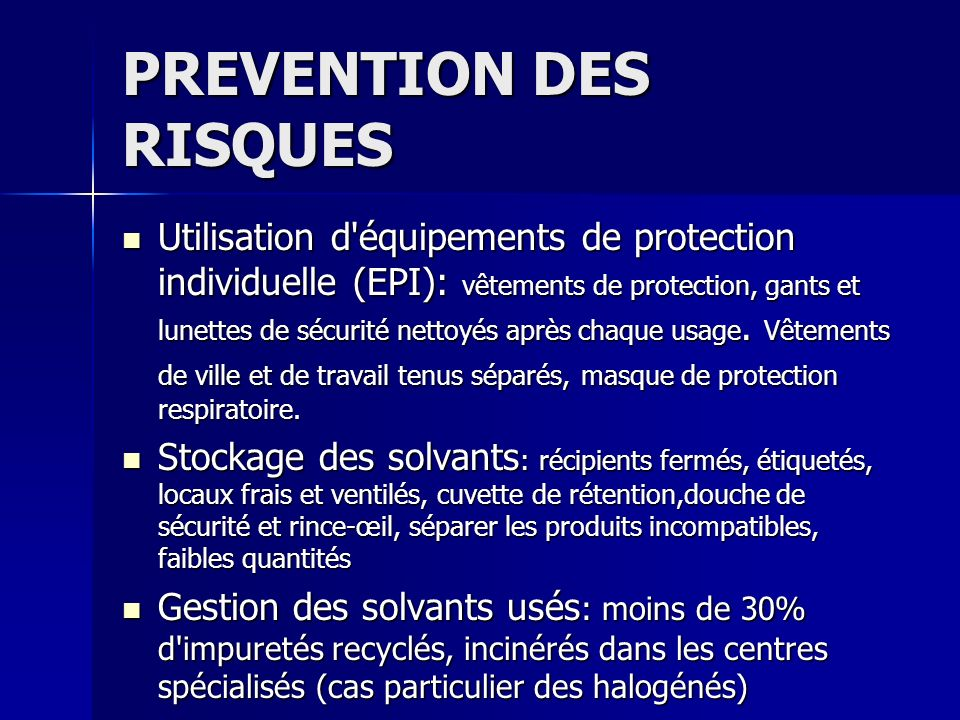 PREVENTION DES RISQUES