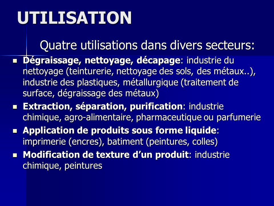 UTILISATION Quatre utilisations dans divers secteurs:
