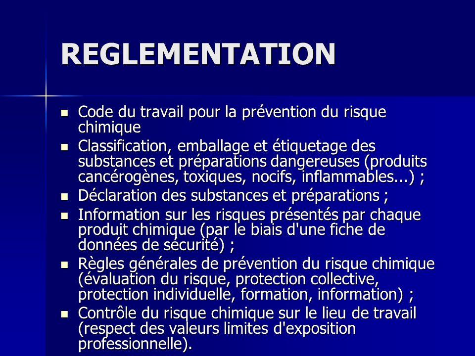 REGLEMENTATION Code du travail pour la prévention du risque chimique