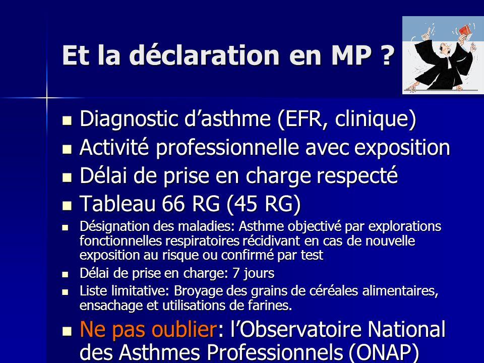 Et la déclaration en MP Diagnostic d'asthme (EFR, clinique)