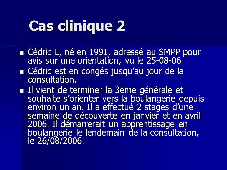 Cas clinique 2 Cédric L, né en 1991, adressé au SMPP pour avis sur une orientation, vu le 25-08-06.
