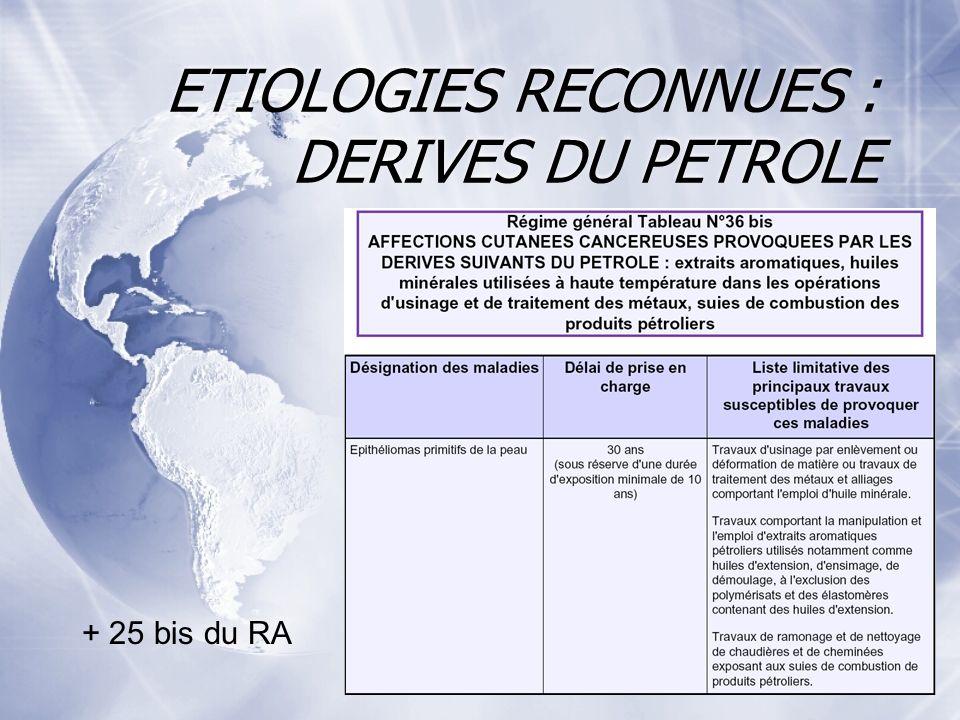 ETIOLOGIES RECONNUES : DERIVES DU PETROLE