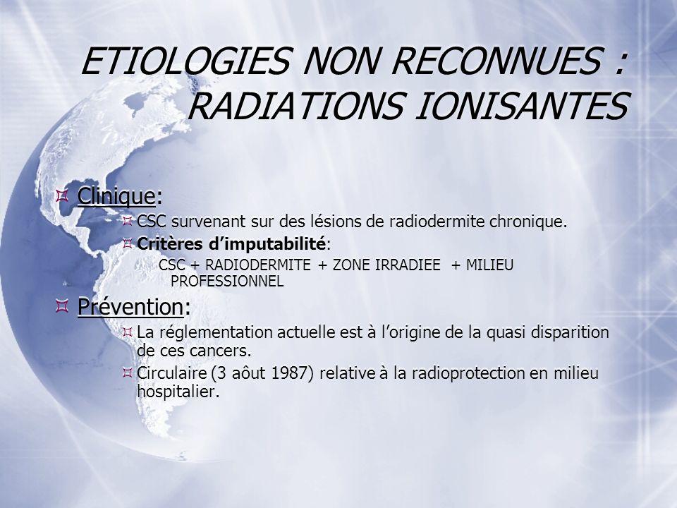 ETIOLOGIES NON RECONNUES : RADIATIONS IONISANTES