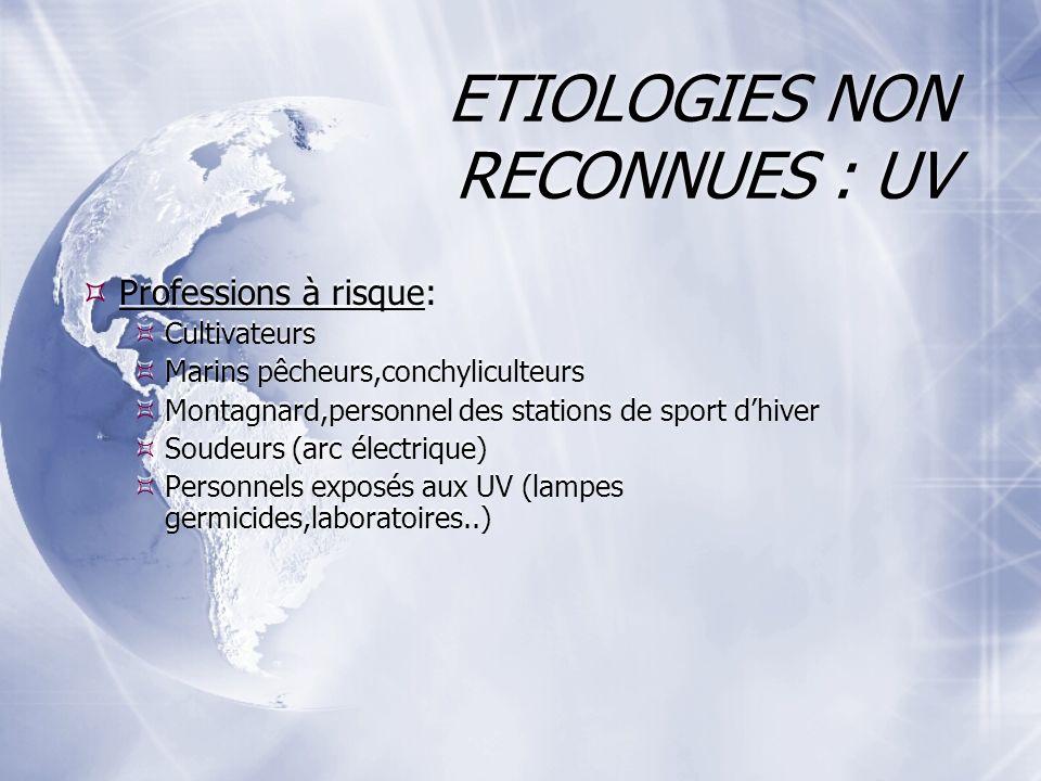 ETIOLOGIES NON RECONNUES : UV