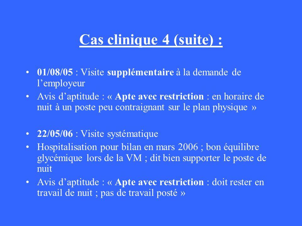 Cas clinique 4 (suite) :01/08/05 : Visite supplémentaire à la demande de l'employeur.