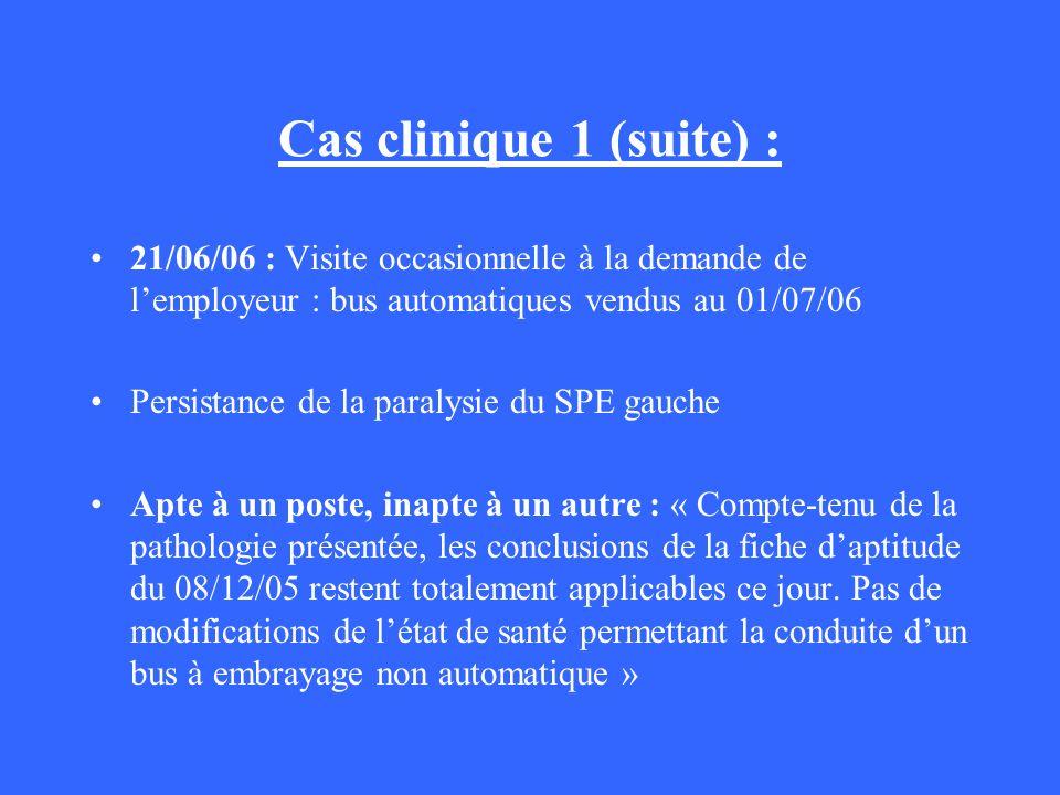 Cas clinique 1 (suite) : 21/06/06 : Visite occasionnelle à la demande de l'employeur : bus automatiques vendus au 01/07/06.