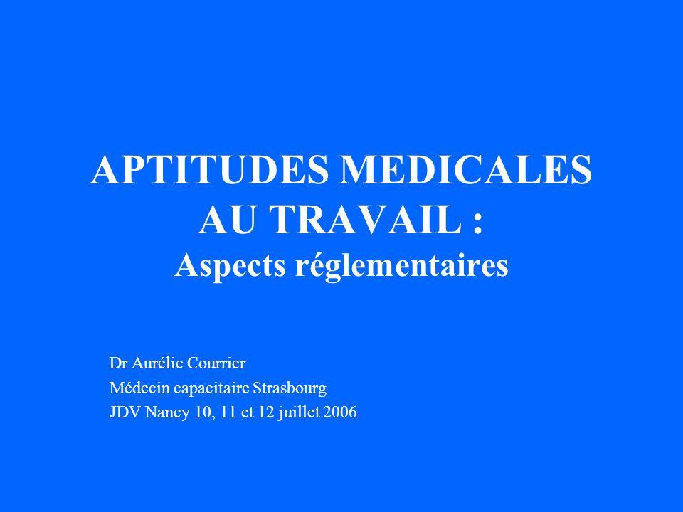 APTITUDES MEDICALES AU TRAVAIL : Aspects réglementaires