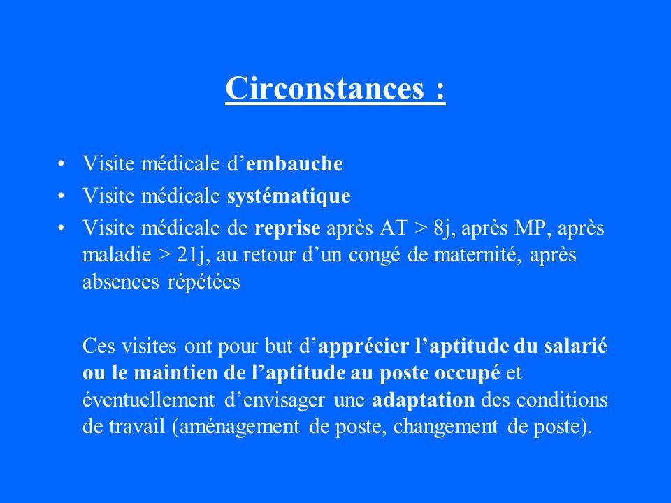 Circonstances : Visite médicale d'embauche