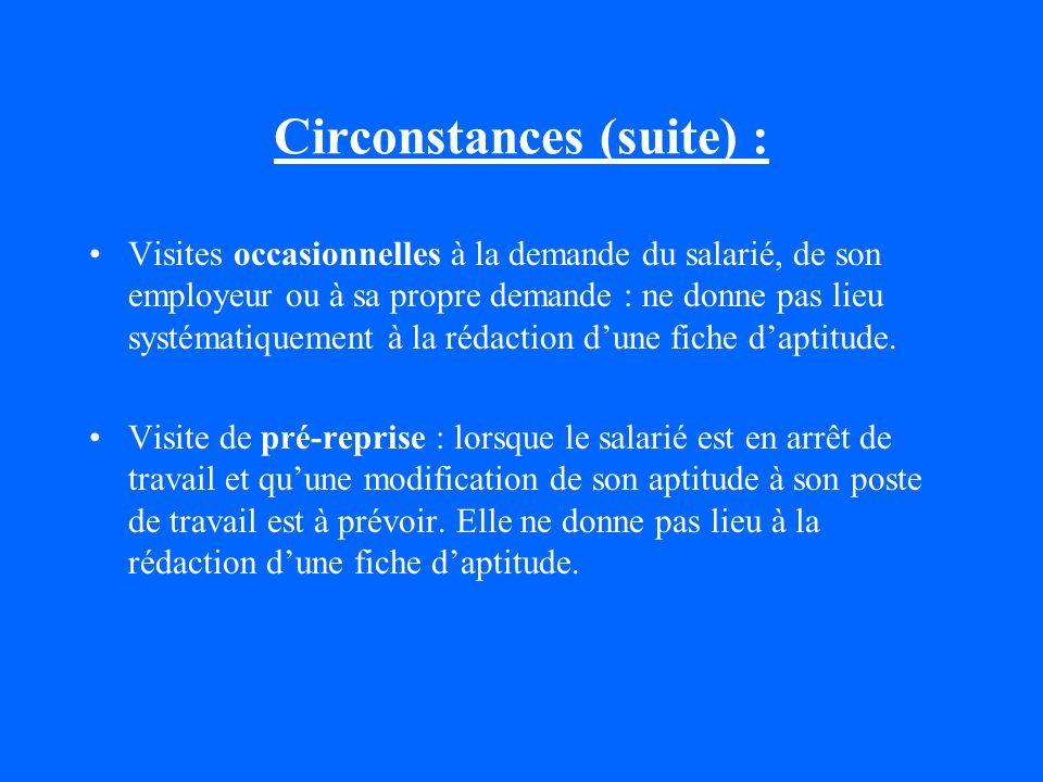 Circonstances (suite) :