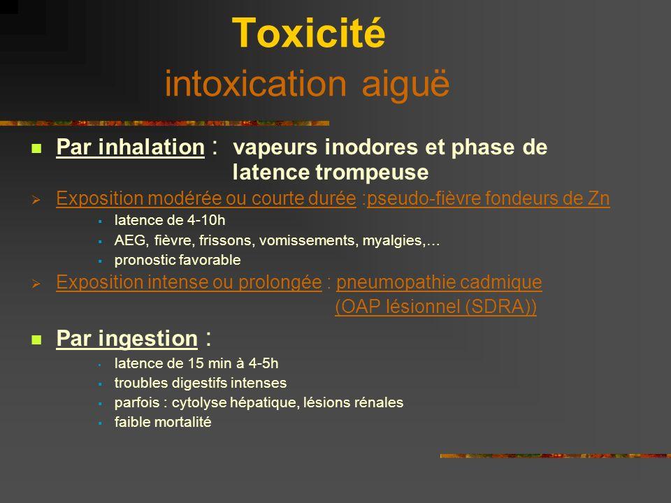 Toxicité intoxication aiguë