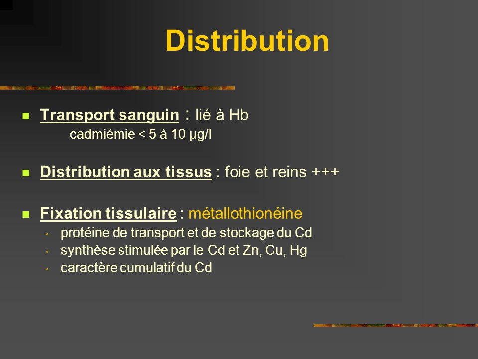 Distribution Transport sanguin : lié à Hb