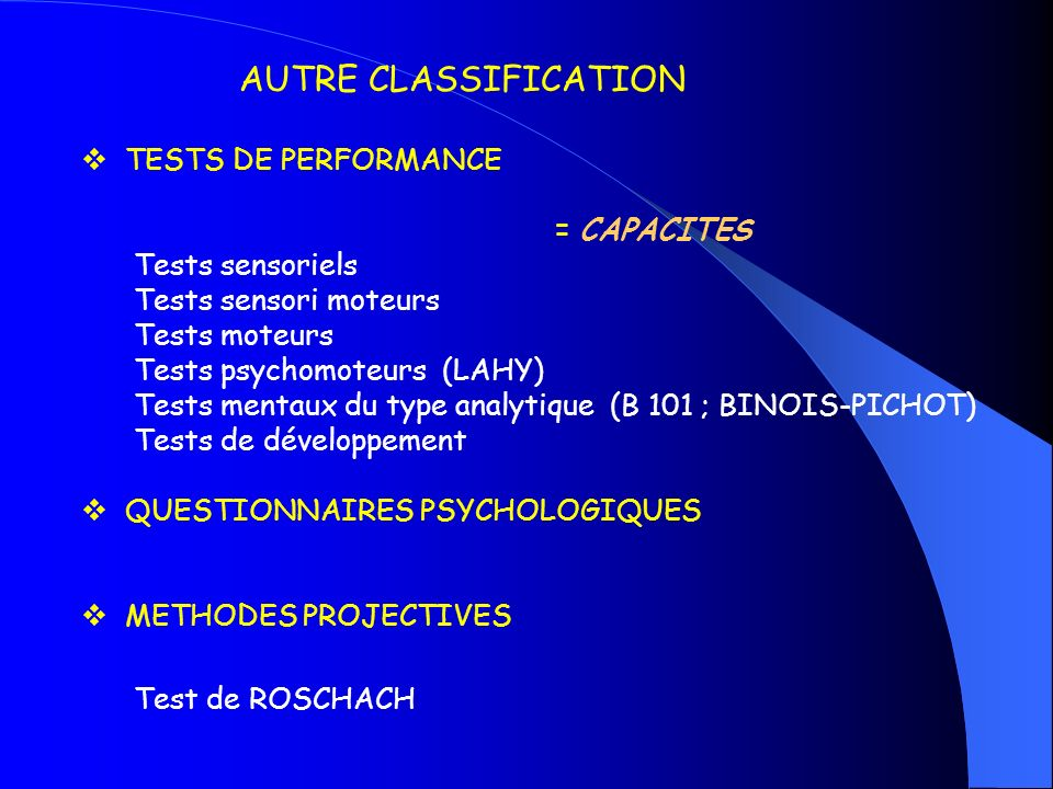 AUTRE CLASSIFICATION Test de ROSCHACH TESTS DE PERFORMANCE = CAPACITES