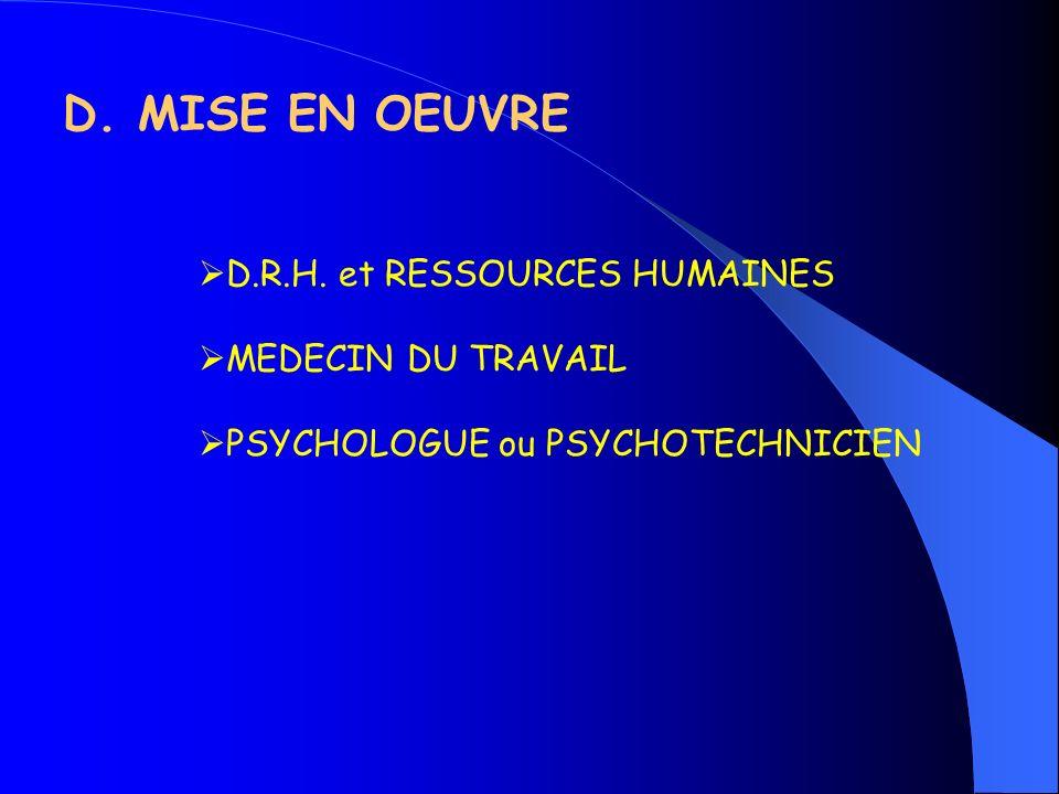 D. MISE EN OEUVRE D.R.H. et RESSOURCES HUMAINES MEDECIN DU TRAVAIL