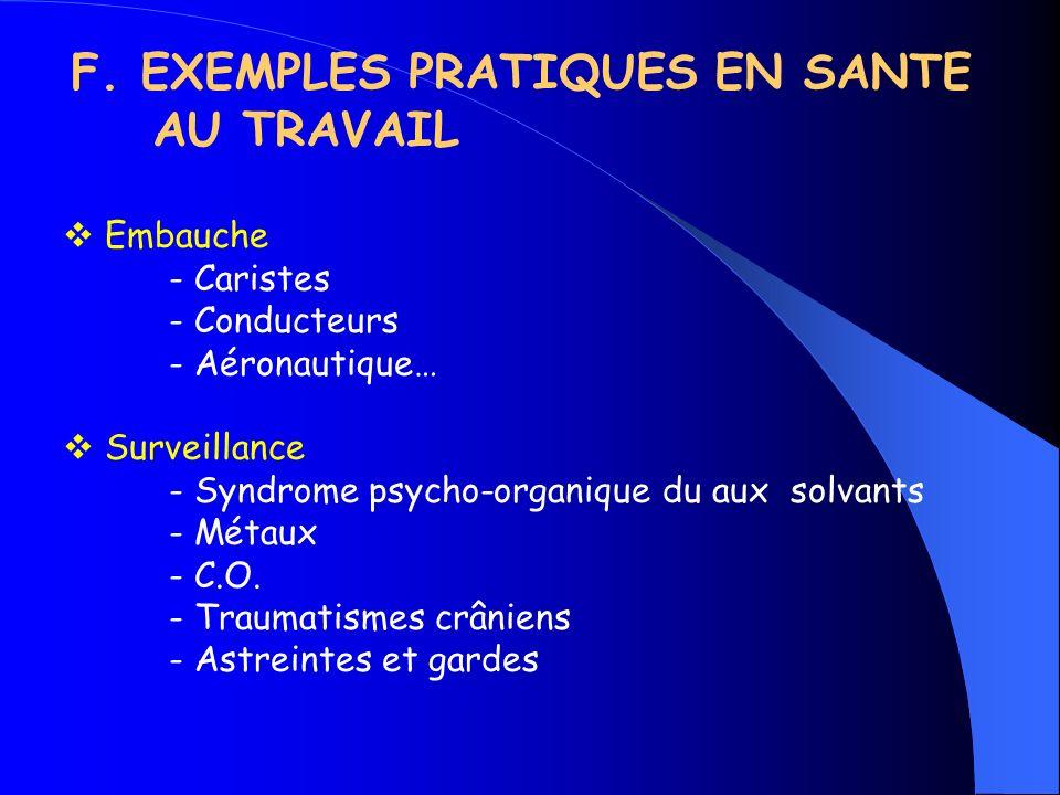 F. EXEMPLES PRATIQUES EN SANTE AU TRAVAIL