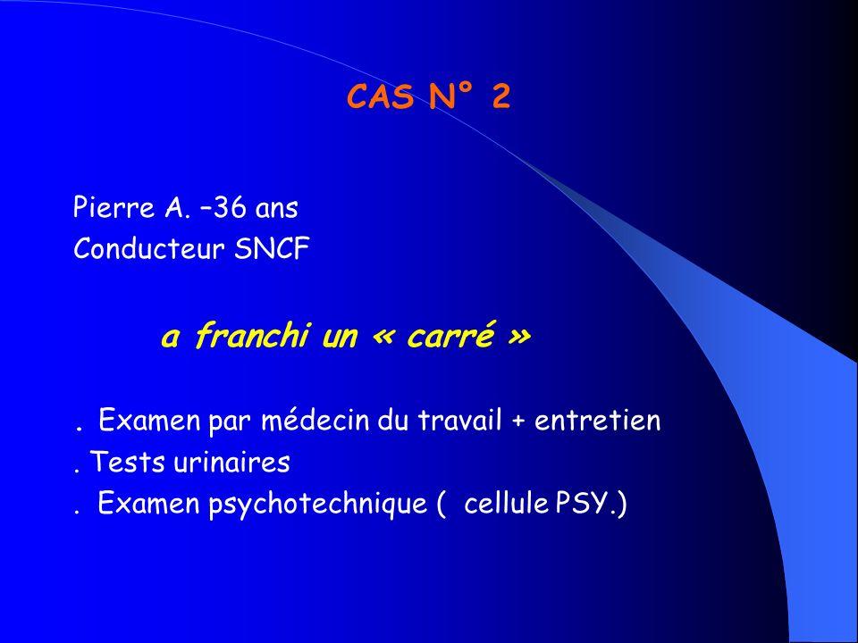 CAS N° 2 Pierre A. –36 ans Conducteur SNCF a franchi un « carré »