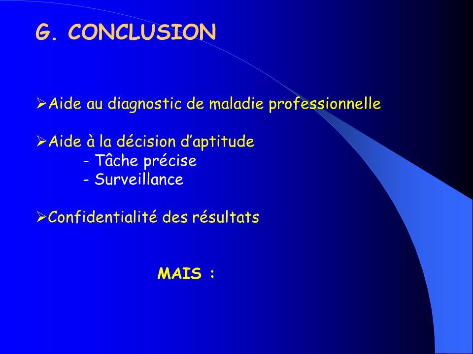G. CONCLUSION Aide au diagnostic de maladie professionnelle