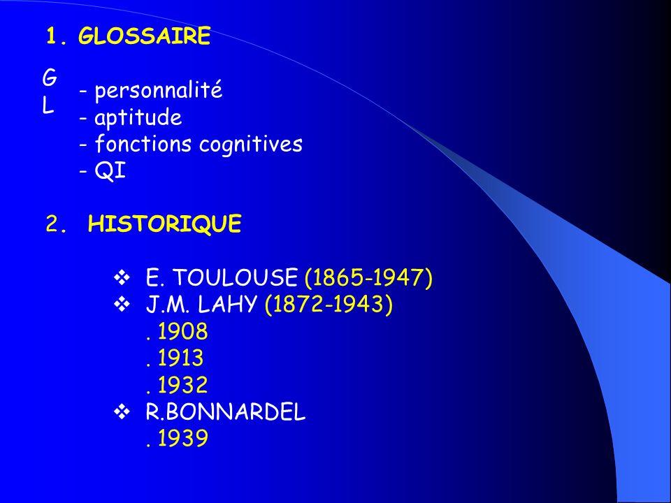 GLOSSAIRE - personnalité. - aptitude. - fonctions cognitives. - QI. 2. HISTORIQUE. E. TOULOUSE (1865-1947)