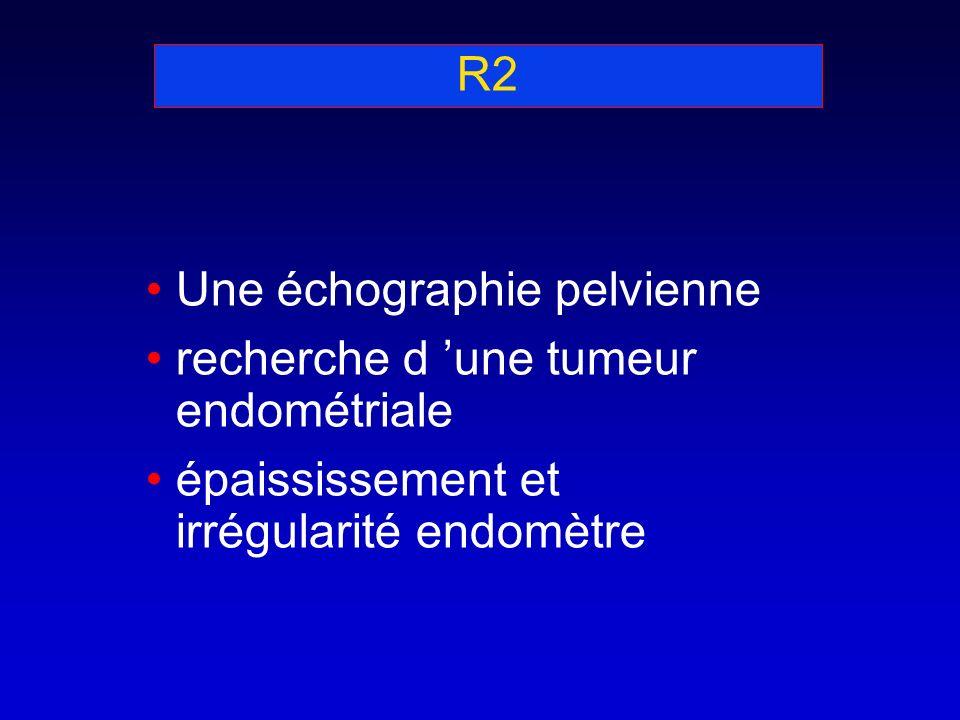 R2 Une échographie pelvienne. recherche d 'une tumeur endométriale.