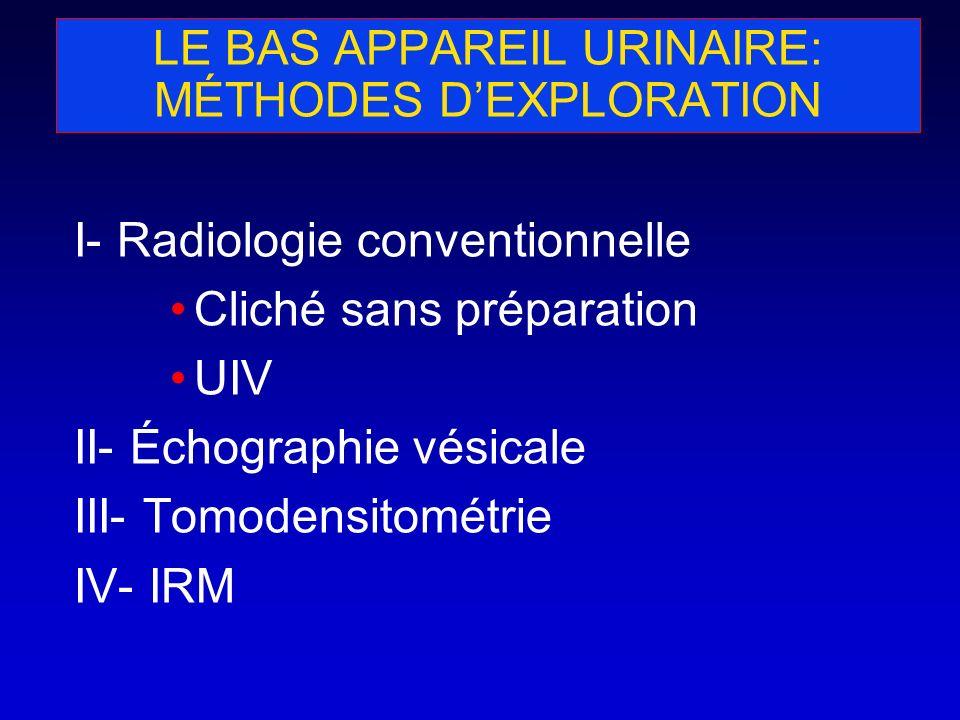 LE BAS APPAREIL URINAIRE: MÉTHODES D'EXPLORATION