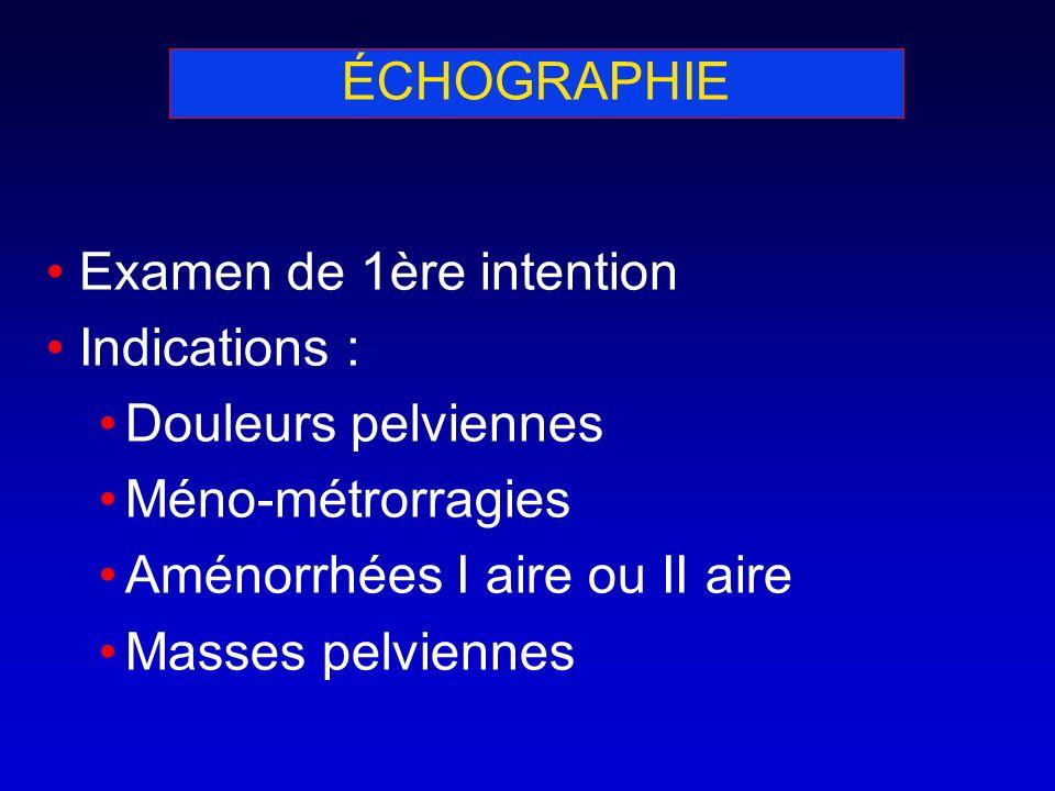 ÉCHOGRAPHIE Examen de 1ère intention. Indications : Douleurs pelviennes. Méno-métrorragies. Aménorrhées I aire ou II aire.