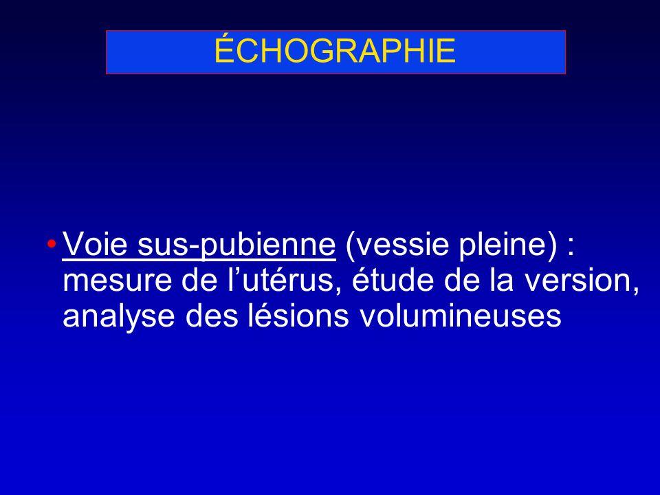 ÉCHOGRAPHIE Voie sus-pubienne (vessie pleine) : mesure de l'utérus, étude de la version, analyse des lésions volumineuses.