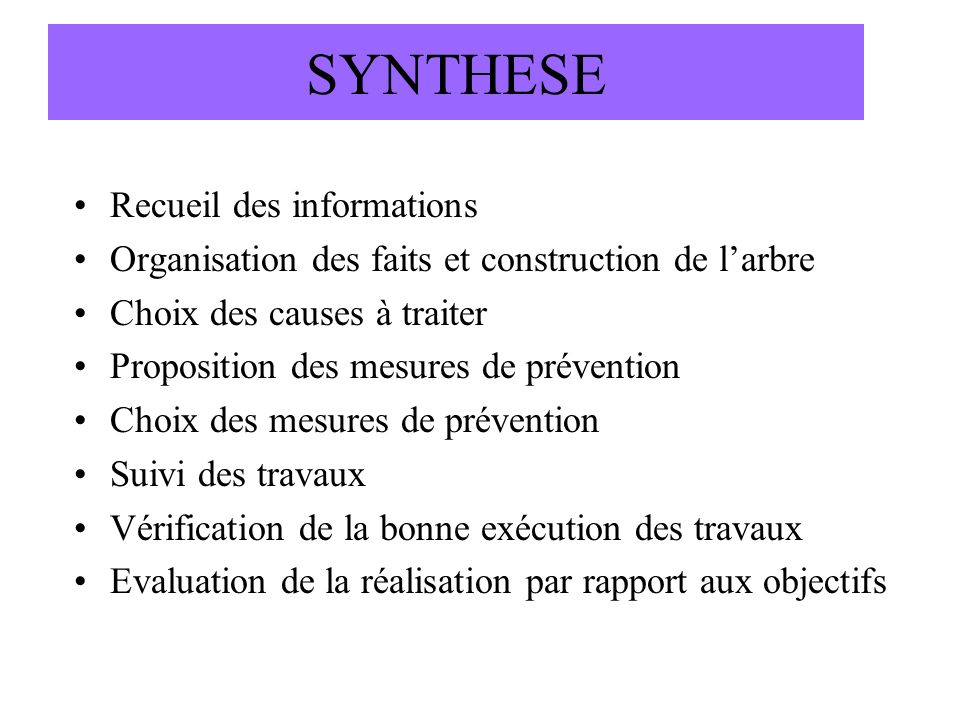 SYNTHESE Recueil des informations