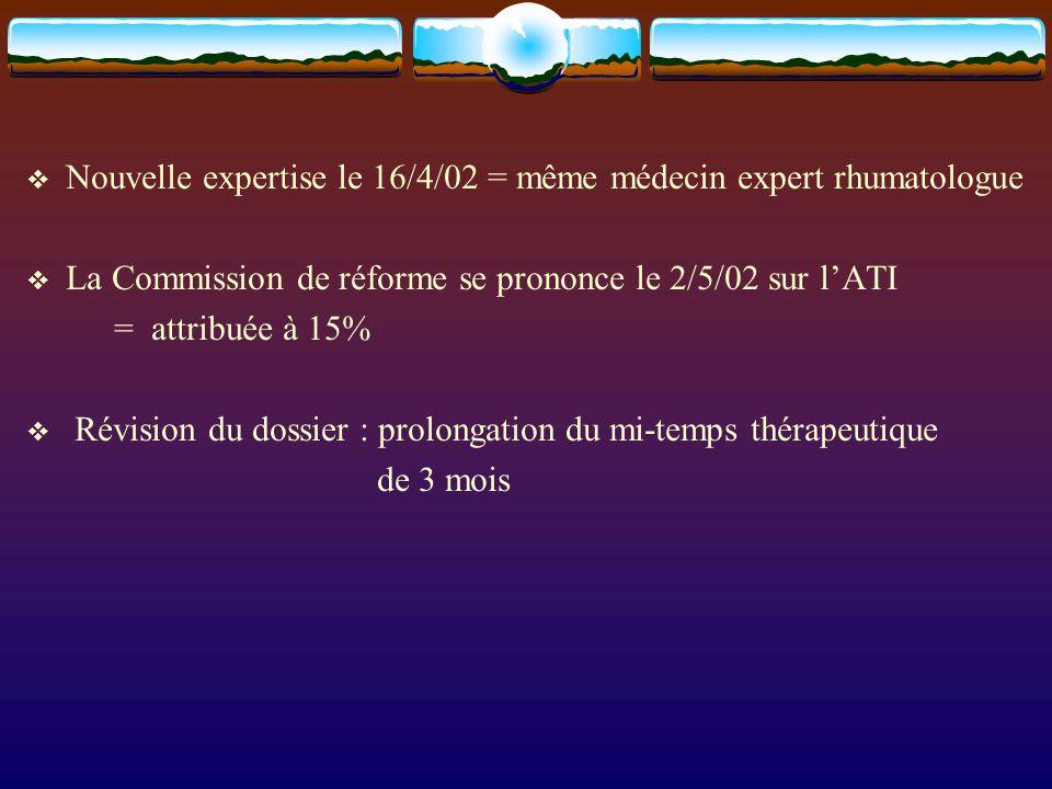 Nouvelle expertise le 16/4/02 = même médecin expert rhumatologue