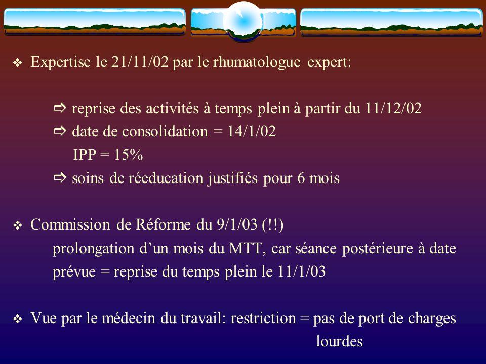 Expertise le 21/11/02 par le rhumatologue expert: