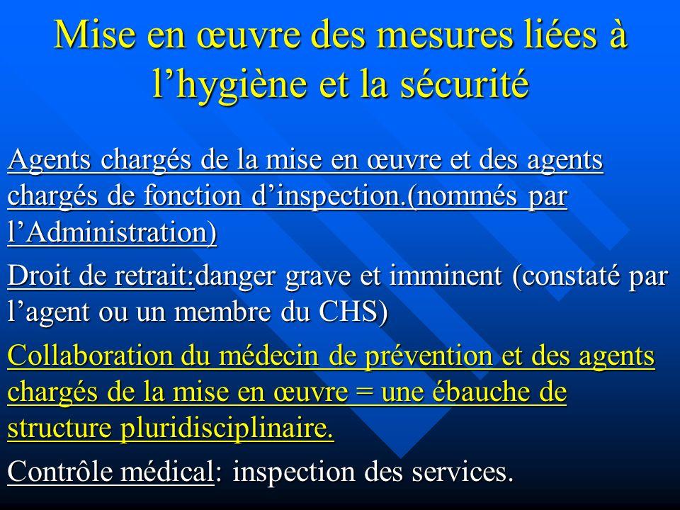 Mise en œuvre des mesures liées à l'hygiène et la sécurité