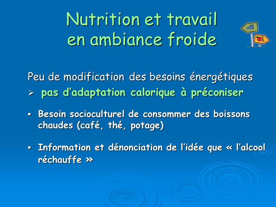 Nutrition et travail en ambiance froide