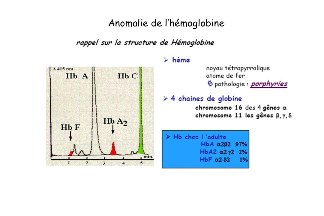 Anomalie de l'hémoglobine
