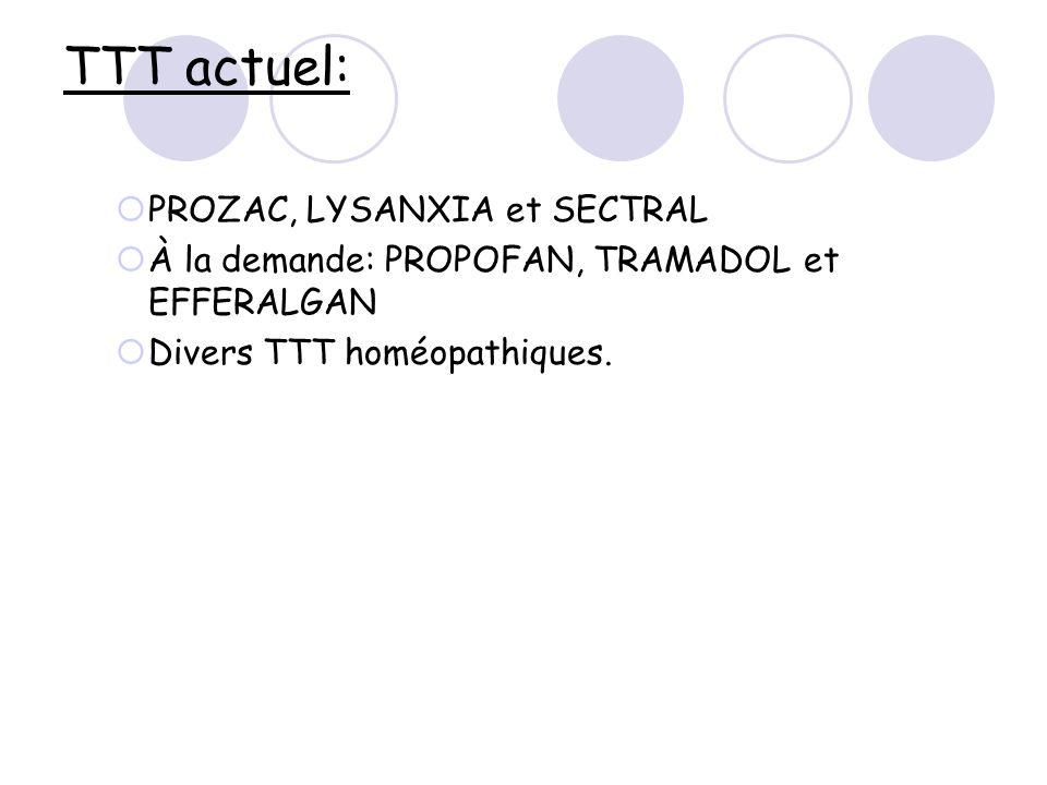 TTT actuel: PROZAC, LYSANXIA et SECTRAL