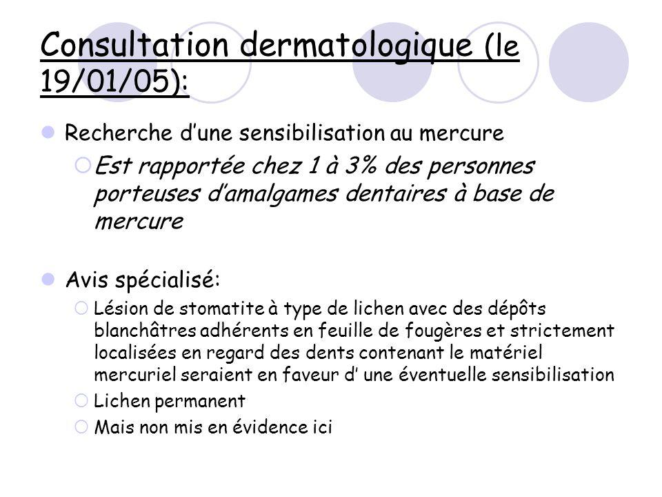 Consultation dermatologique (le 19/01/05):