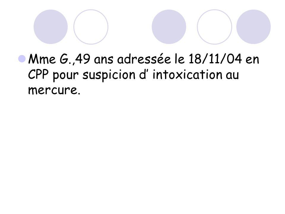 Mme G.,49 ans adressée le 18/11/04 en CPP pour suspicion d' intoxication au mercure.
