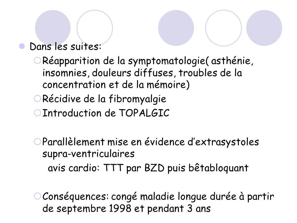 Dans les suites: Réapparition de la symptomatologie( asthénie, insomnies, douleurs diffuses, troubles de la concentration et de la mémoire)