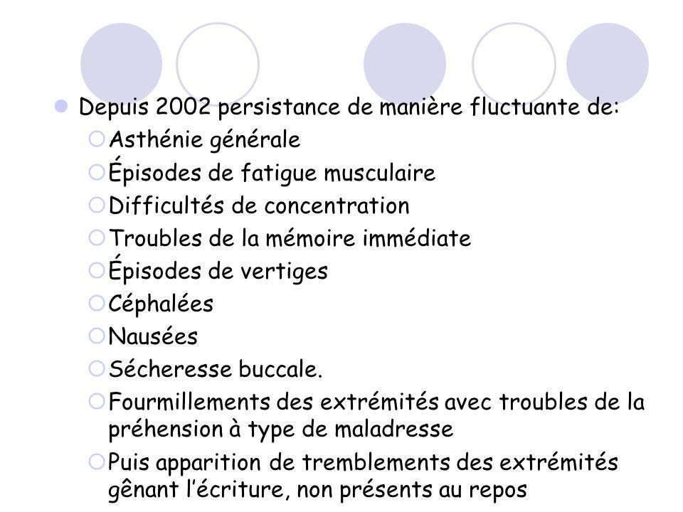 Depuis 2002 persistance de manière fluctuante de: