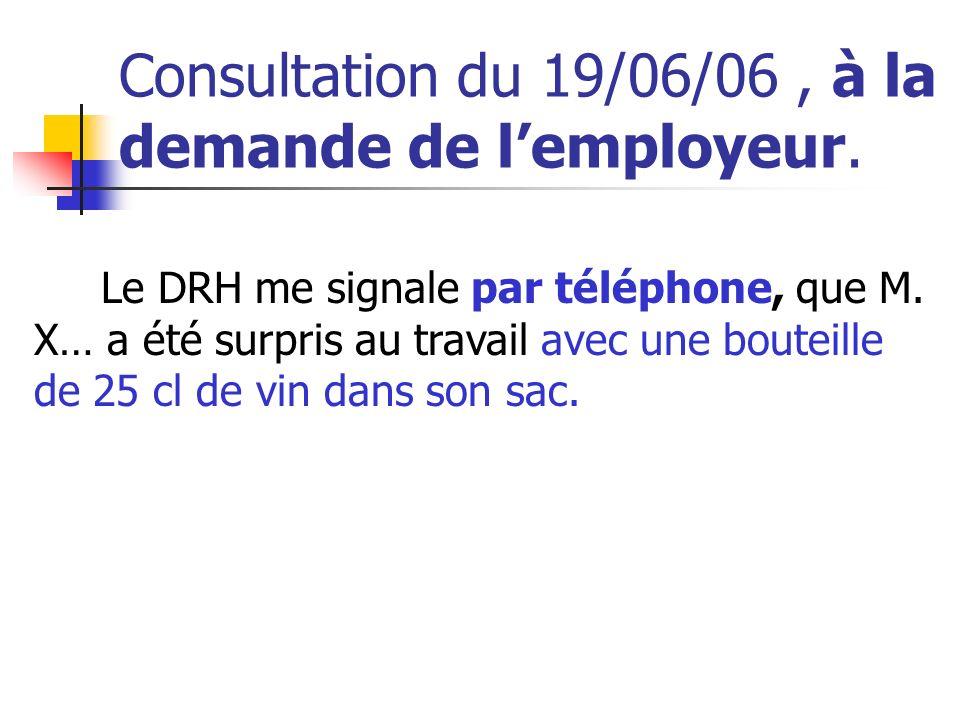 Consultation du 19/06/06 , à la demande de l'employeur.