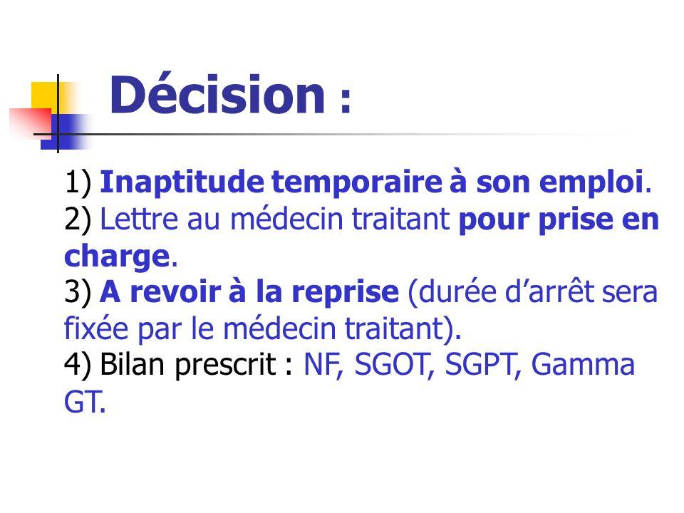 Décision : 1) Inaptitude temporaire à son emploi.