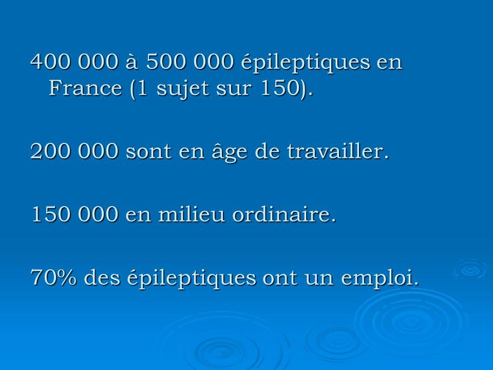 400 000 à 500 000 épileptiques en France (1 sujet sur 150).