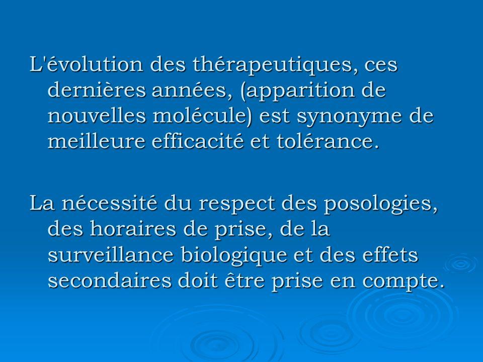 L évolution des thérapeutiques, ces dernières années, (apparition de nouvelles molécule) est synonyme de meilleure efficacité et tolérance.