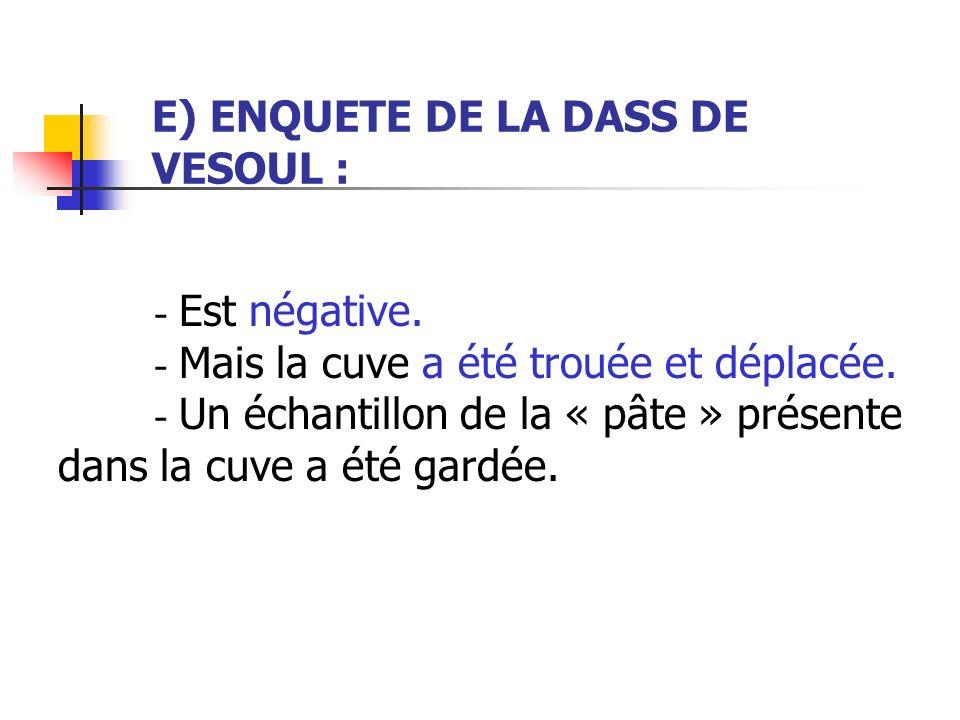 E) ENQUETE DE LA DASS DE VESOUL :