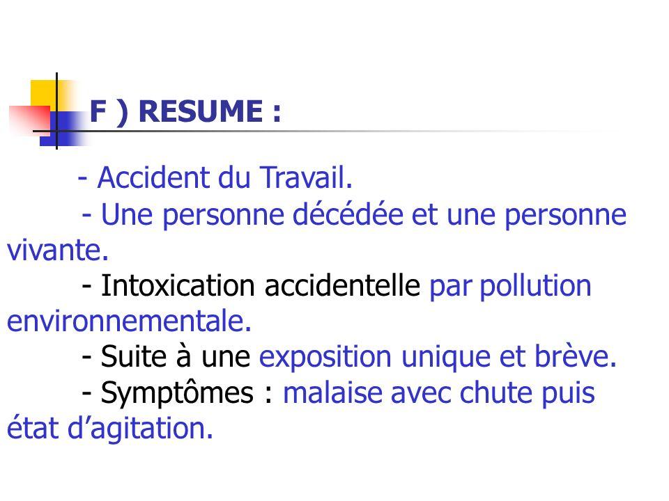 F ) RESUME : - Accident du Travail. - Une personne décédée et une personne vivante.