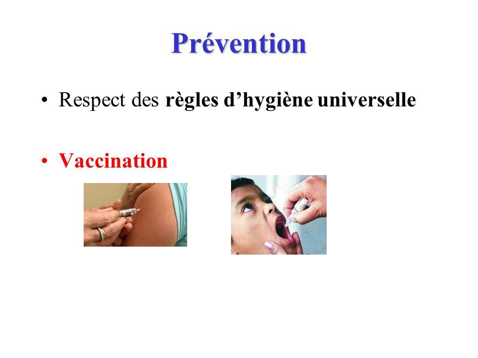 Prévention Respect des règles d'hygiène universelle Vaccination