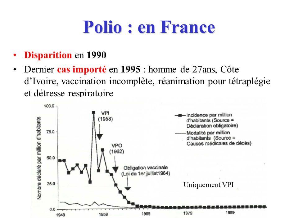 Polio : en France Disparition en 1990