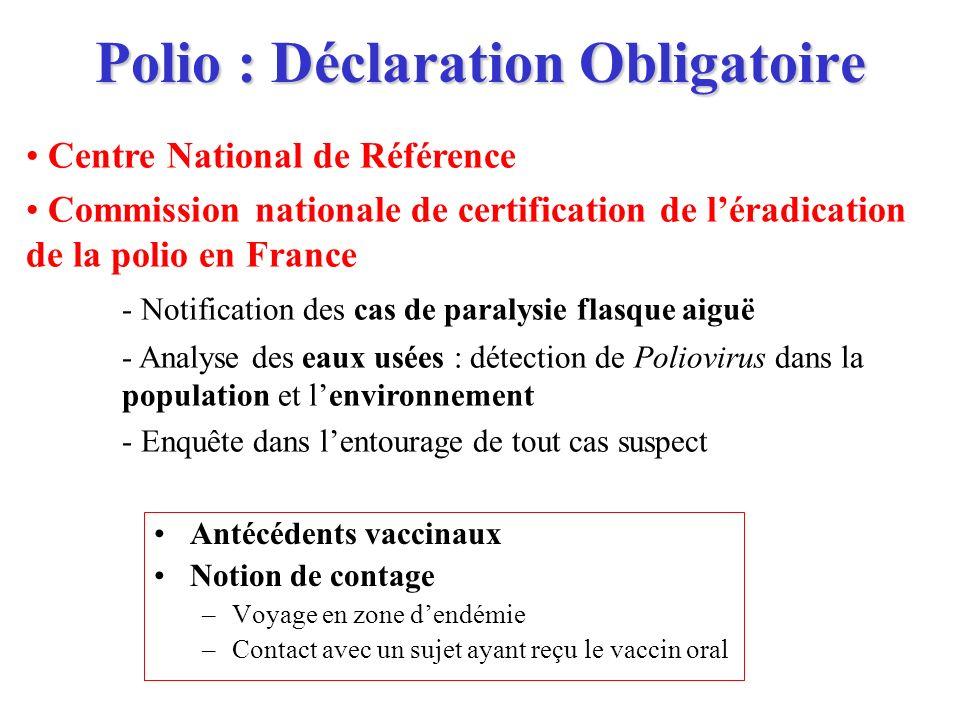 Polio : Déclaration Obligatoire