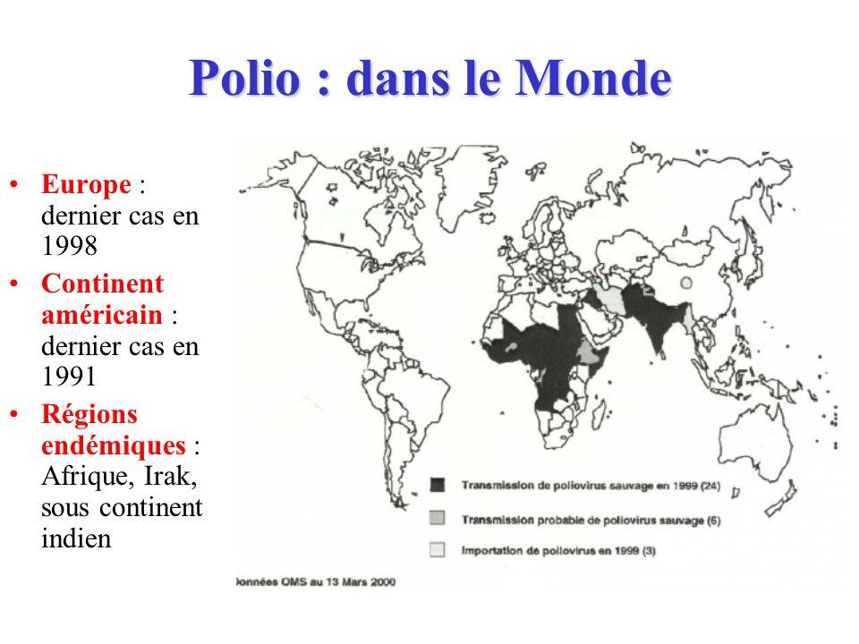 Polio : dans le Monde Europe : dernier cas en 1998