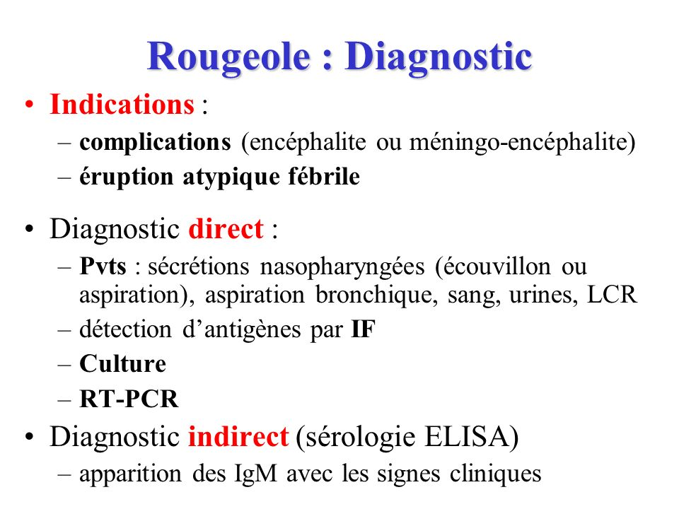 Rougeole : Diagnostic Indications : Diagnostic direct :