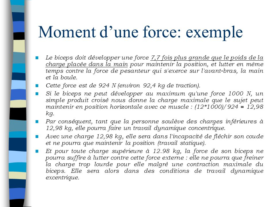 Moment d'une force: exemple