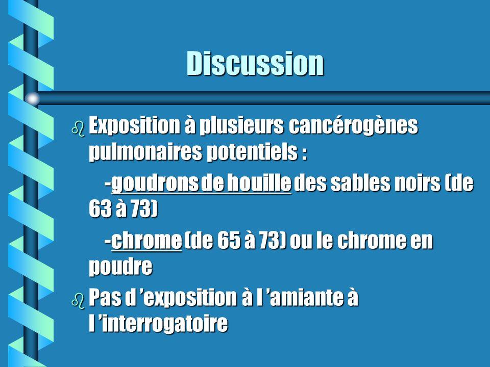 Discussion Exposition à plusieurs cancérogènes pulmonaires potentiels : -goudrons de houille des sables noirs (de 63 à 73)